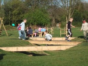 Natural play design, public park landscape design, standing stones installed