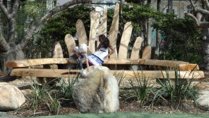 Storytelling circle and outdoor learning environment