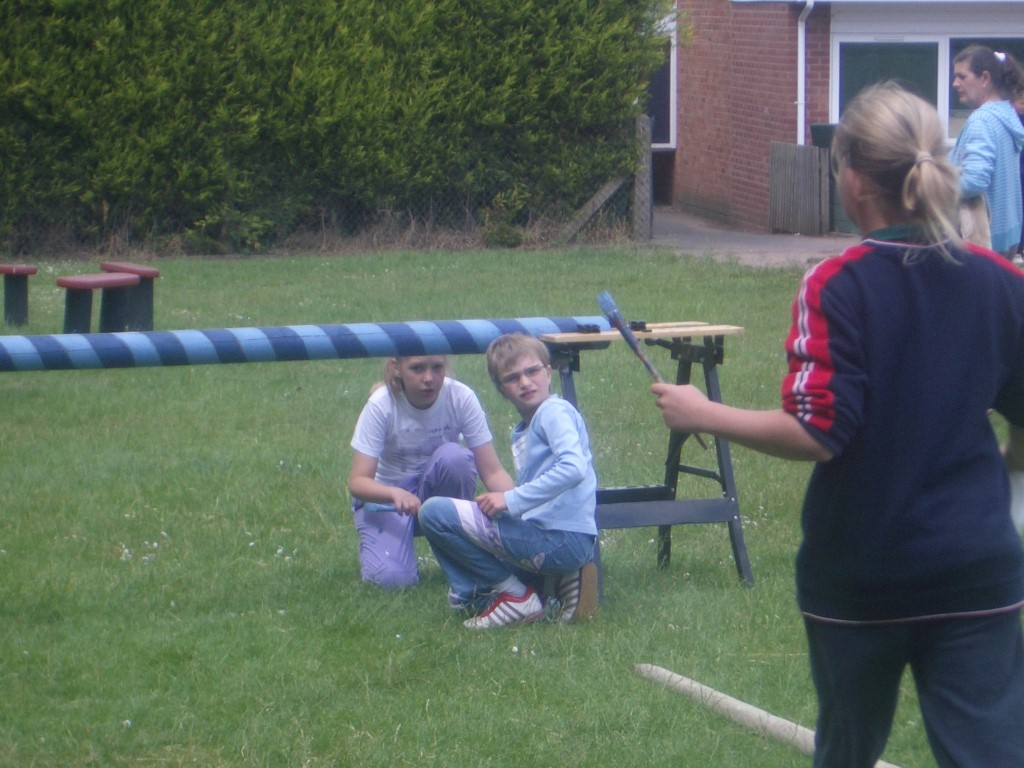 Year 4 painting the maypole