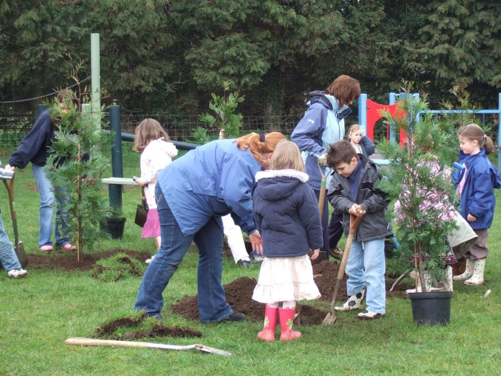 school children plant trees